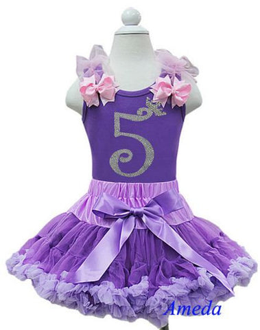 Purple Birthday Party Dress with Number 5 on it