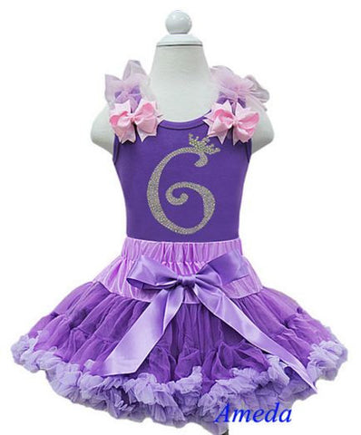 Purple Birthday Party Dress with Number 6 on it