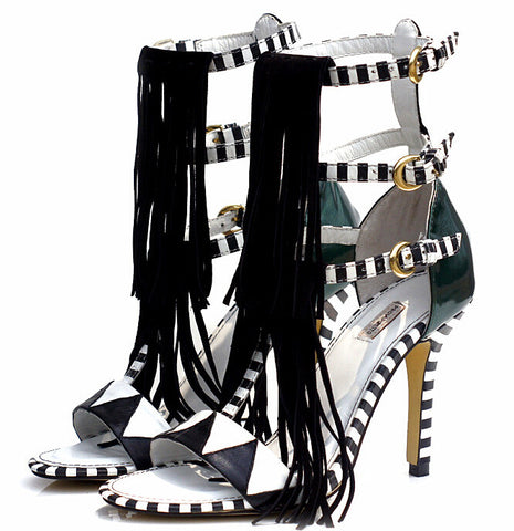 Black & White Stripes elegant high-heel shoes