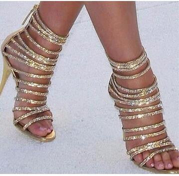 Diamond rings elegant party sandals