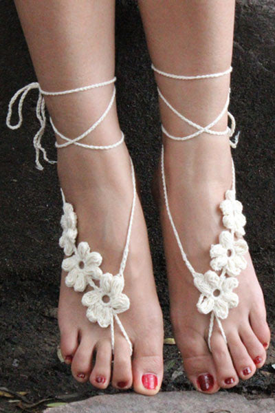 Stylish Beach Accessories - White Hand Made Flowery Crochet Beach Sandals