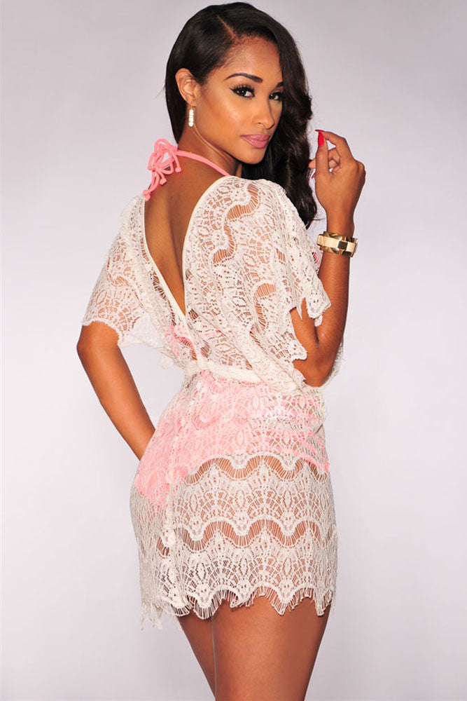 Beach Dress - White Lace Cover up Dress