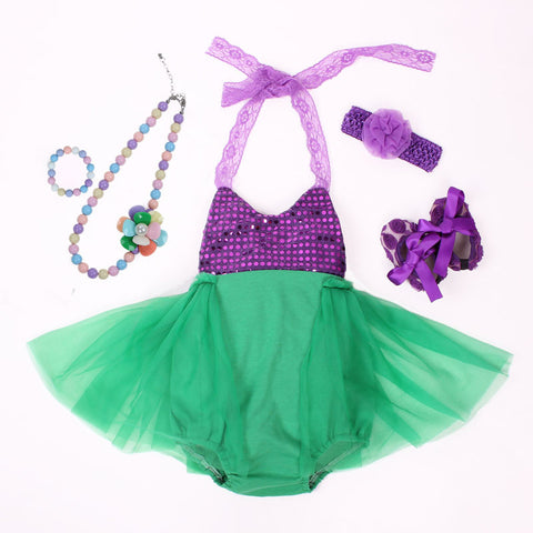 Super Cute Ariel Mermaid Tutu Dress / 5 Pcs set