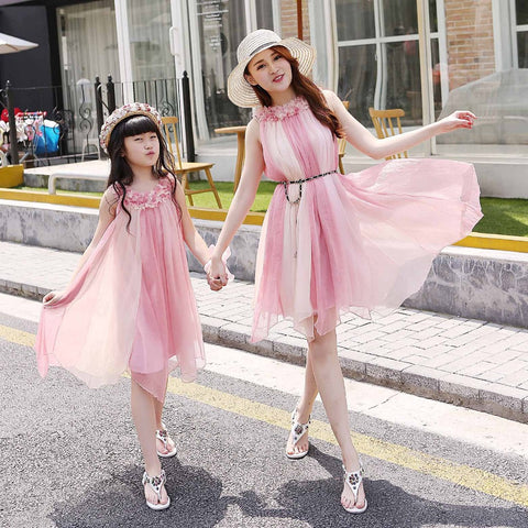 Fashionable Summer Chiffon Mother Daughter Dresses