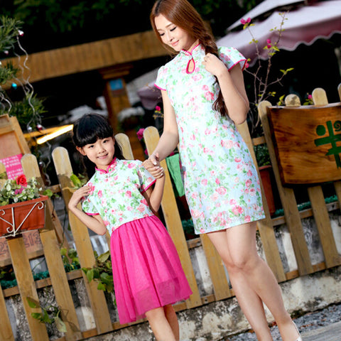 Traditional China Style Mother and Daughter Matching Dresses