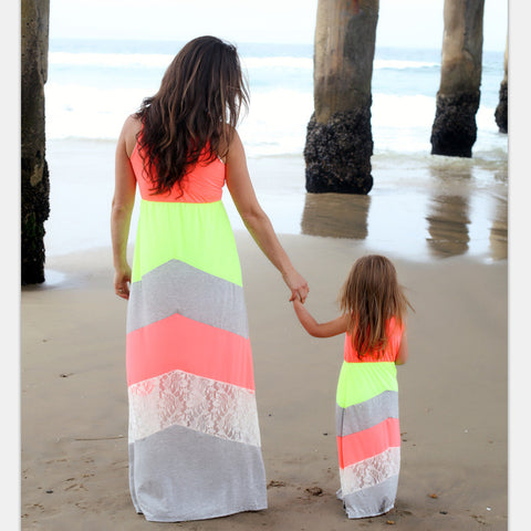 Mommy and Me Summer Chervon Lace Dress