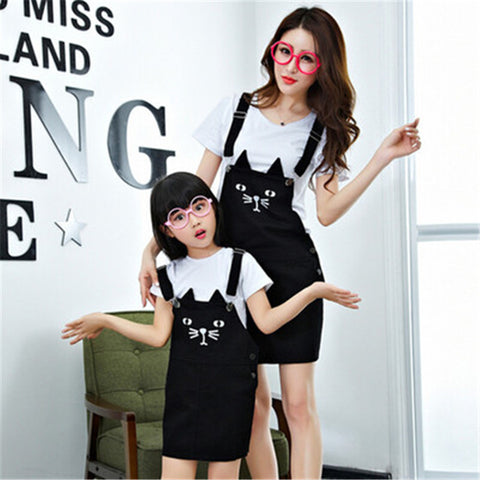 Cute Cat Denim Strap Mother Daughter Family Matching Outfits