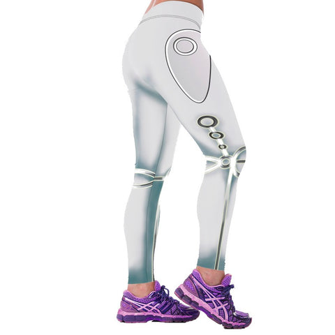 Robotics High Waist Elastic White Leggings