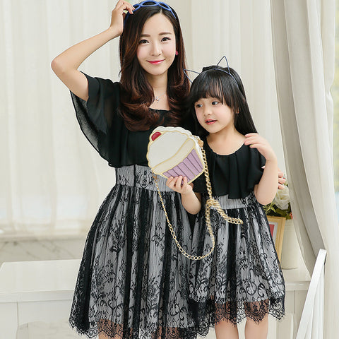 Mother Daughter Black Lace Dresses (Black or White)