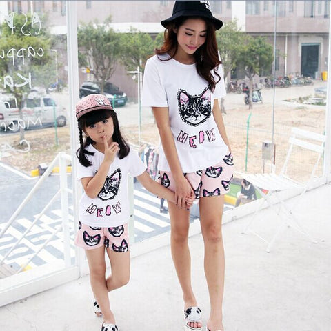 Summer Mother and Daughter T-Shirt & Shorts