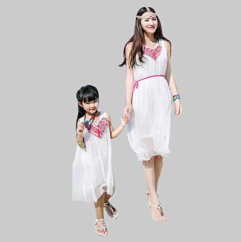 Bohemian Mother Daughter Matching Chiffon Beach Dresses