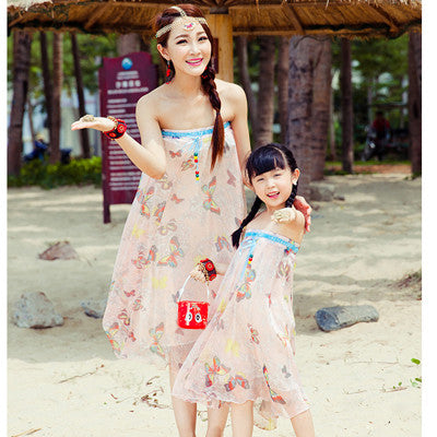 Authentic Mother Daughter Maxi Skirt Beach Chiffon Dress