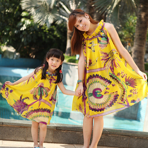 Summer Mother Daughter Bohemian Beach Dresses