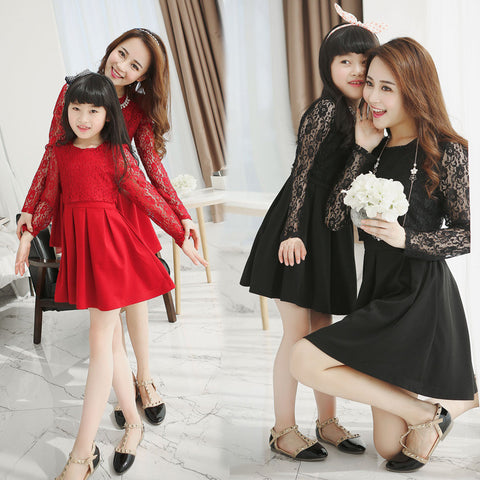 Korean Style Mother Daughter Lace Sleeve Dresses