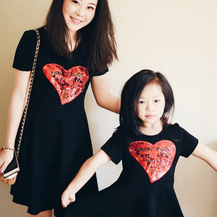 Mother And Daughter Heart  Dress