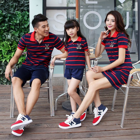 Striped Polo Casual Family Matching Clothing (Mom, Dad, Child)