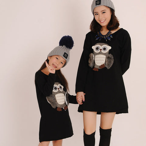 Owl Sporty Mother Daughter Pullover Dresses