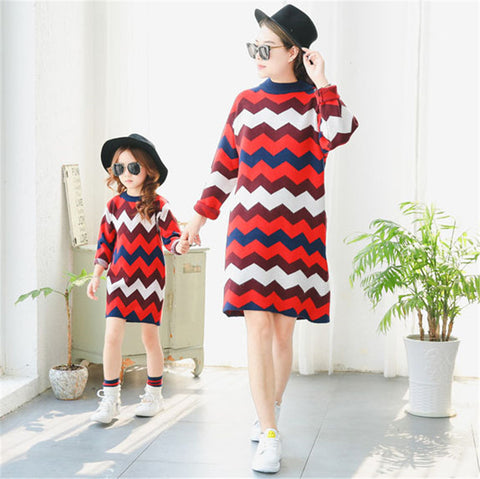 Wave Striped  Mother Daughter Dresses