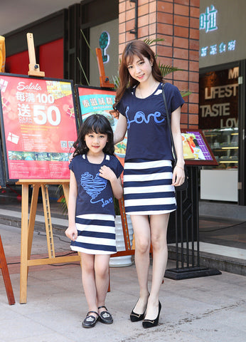 Mother Daughter Matching Stripped Dresses