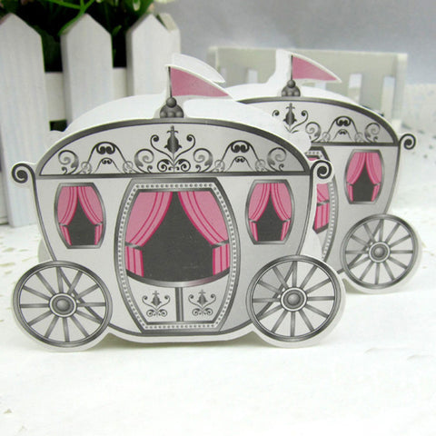 100pcs Enchanted Carriage Favor Boxes - For Wedding, Birthday, Baby Shower
