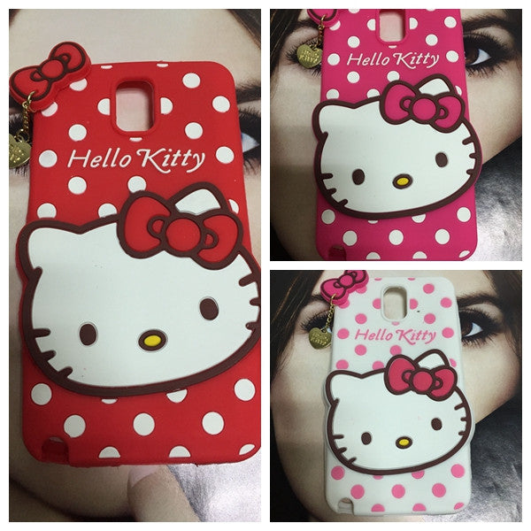 3D Hello Kitty TPU silicone case for Samsung Galaxy Note 3