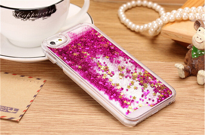 Transparent Glitter Stars Liquid hard cover for iPhone 6/6S
