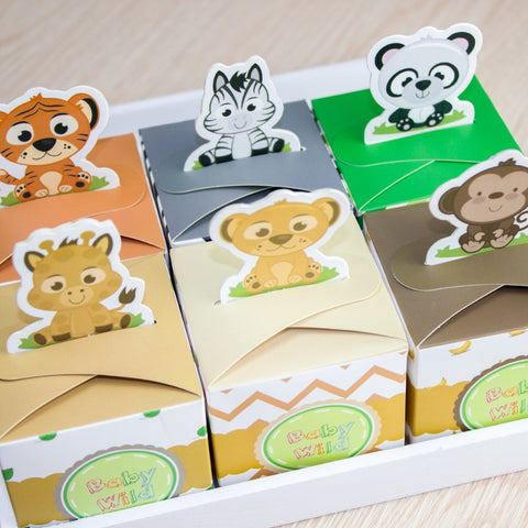 12 pieces Baby Shower or Birthday Safari Animal Wild Favor Boxfor Boy/Girl
