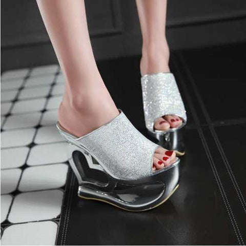 CLEARANCE: Heart Wedges Open Toe Rhinestone High Heels Shoes