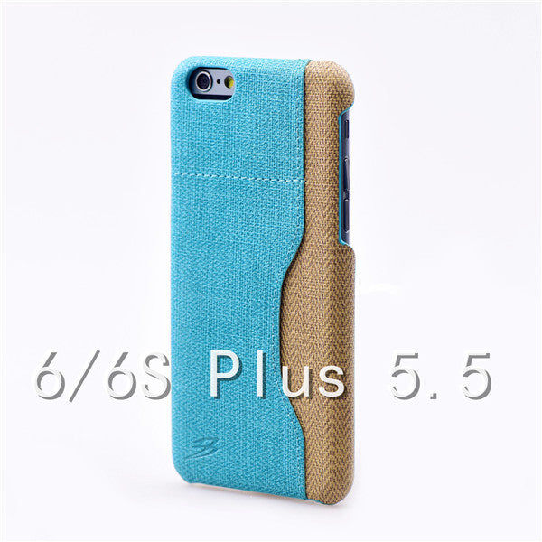Luxury Stylish PU Fiber Leather cover with card holder for iPhone 6/6S Plus size 5.5