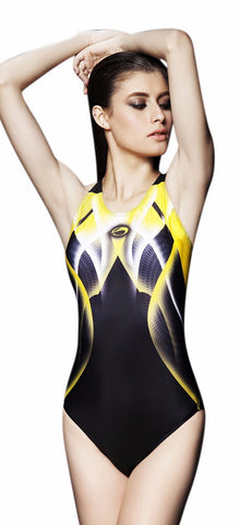 Slimming Black Yellow One Piece Swimwear Sexy Backless