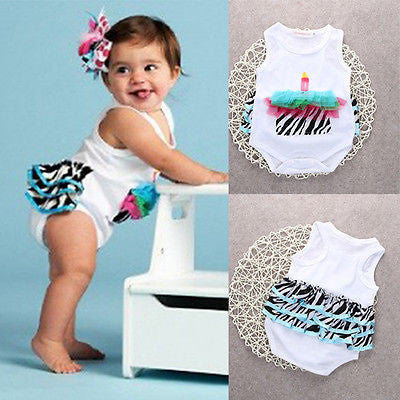 Cute Baby Girls Sleeveless Floral Birthday Romper Bodysuit (9 to 24 months)