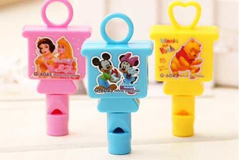 24 pcs Cartoon Image Whistle & Sharpener for Kids birthday parties or favors