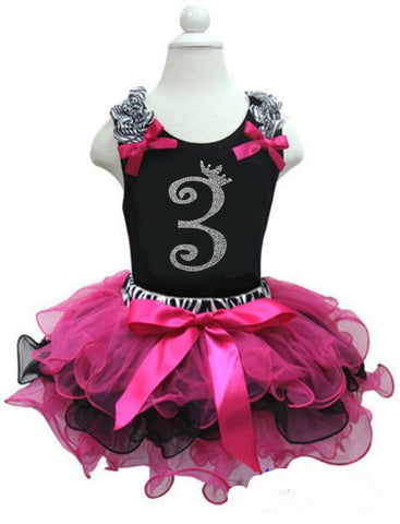CLEARANCE: Zebra Hot Pink Black Birthday Party Dress with Number 3 on it