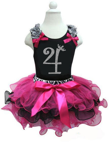 CLEARANCE: Zebra Hot Pink Black Birthday Party Dress with Number 4 on it