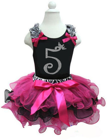 CLEARANCE: Zebra Hot Pink Black Birthday Party Dress with Number 5 on it