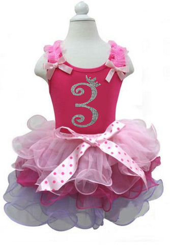 Pink Girls Birthday Dress with Number 3 on it
