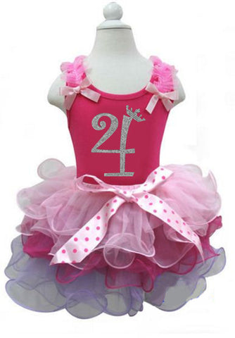 Pink Girls Birthday Dress with Number 4 on it