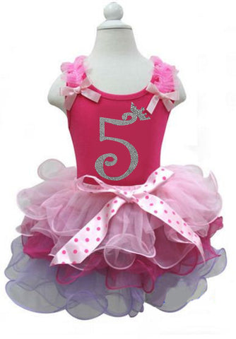 Pink Girls Birthday Dress with Number 5 on it