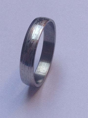 SILVER PATTERNED STEEL PLAIN BAND RING