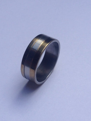 DOUBLE GOLD WIDE STRIPE SILVER BAND RING