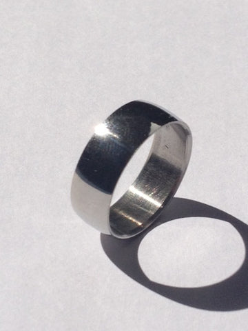 SILVER STEEL 8MM WIDE PLAIN BAND RING