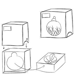 Sketch drawing of foldable Christmas ornament box with stackable flock trays