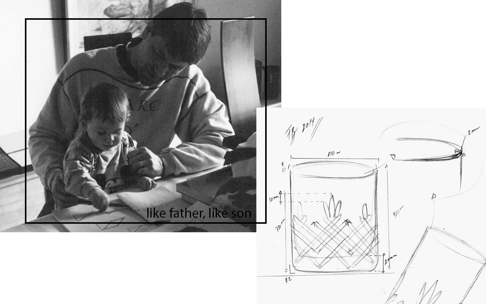 Erik Bagger sitting with his son Frederik Bagger on his lap at a desk, sketching. A sketch of Crispy Lowball