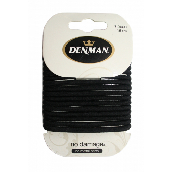 Denman - Black No Damage Elastics 18 pcs