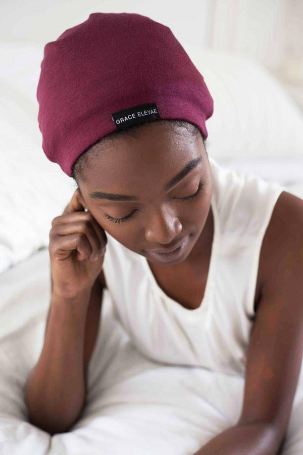 Grace Eleyae - Wine Red Slap | Satin-Lined Cap - Afroshoppe.ch