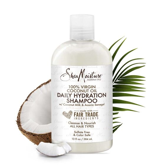 Shea Moisture - 100% Virgin Coconut Oil Daily Hydration Shampoo w/Coconut Milk & Acacia Senegal - Afroshoppe.ch