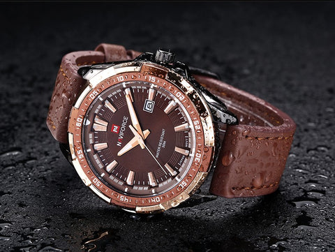 Naviforce brown dial stylist, waterproof quartz watch