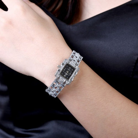 Silver color rhinestone bracelet watch for women
