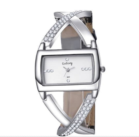 Gogoey Women  Leather And Stainless Steel Band Watch