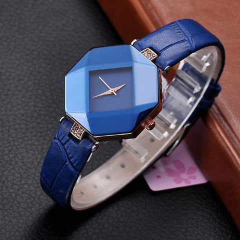 Blue dial analog wristwatch for women